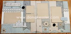 Two Page Winter Snow Scrapbooking layout Frosted Cricut Artbooking Art…
