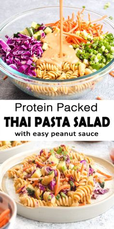 Protein Packed Thai Pasta Salad is a 20 minutes healthy dinner recipe. This vegan, gluten free, and grain free dish is made with garbanzo bean pasta and vegetables like cabbage, carrots and cucumber. Vegetarian Recipes, Cooking Recipes, Healthy Recipes, Vegetarian Dinners, Healthy Vegetable Pasta Recipes, Health Food Recipes, Vegetarian Sandwiches, Veggie Pasta, Going Vegetarian