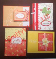 feminine card, Four Birthday Cards for women girl  mother daughter handcrafted from the heart by ScottyWorks, $11.50
