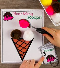 Preschool Centers Counting Game with pretend Ice Cream - Preschool Children Activities Toddler Learning, Preschool Learning, Kindergarten Activities, Toddler Activities, Learning Activities, Space Activities, Montessori Preschool, Montessori Elementary, Colour Activities Preschool