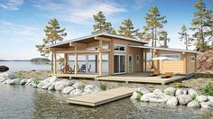 Cabins and Cottages Modern Tiny House, Tiny House Cabin, Modern House Design, Small House Floor Plans, Dream House Plans, Future House, Contemporary Garden Rooms, Freedom House, Small Villa