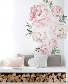 Vintage Peony Flowers Wall Sticker