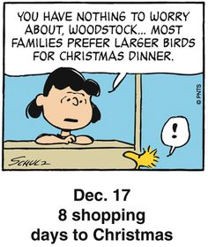 Dec 17 Peanuts Holiday Countdown - 8 shopping days to Christmas Days To Christmas, Peanuts Christmas, Charlie Brown Christmas, Charlie Brown And Snoopy, Christmas Humor, Christmas Comics, Christmas Quotes, Christmas 2015, Merry Christmas