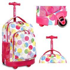 Girls #School #Rolling Backpack #Pink #Wheeled #BookBag #Travel Roller Tote #Trolley #Backpack