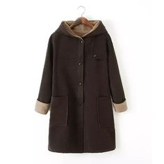 Fashionable Hooded Long Sleeve Solid Color Worsted Pockets Women's Coat, AS THE PICTURE, L in Jackets & Coats | DressLily.com