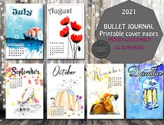 Bullet journal colored cover page 2021 - Hand Drawn Style - Printable - 2021 Bujo - Calendar - Filofax A5, A4, Letter - Planner Inserts Evoletjournal etsy Gifts For Readers, Planner Inserts, Printable Quotes, Cover Pages, Journal Pages, Filofax, Bujo, How To Draw Hands, Bullet Journal