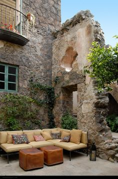 San Miguel de Allende . Mexico vintage stone house patio.