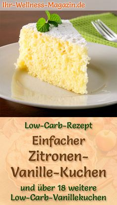 Simple Lemon Vanilla Cake: Fast Low Carb Recipe for Juicy Vanilla . - Food and Drink - # Simple Lemon Vanilla Cake: Fast Low Carb Recipe for Juicy Vanilla . - Food and Drink - # Low Carb Desserts, Low Carb Recipes, Diet Recipes, Vegetarian Recipes, Cake Recipe Without Sugar, Clean Eating Snacks, Healthy Snacks, Law Carb, Bolos Low Carb