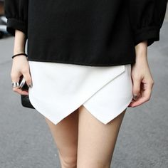White Culottes With Asymetric Hem shorts