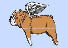 Flying Bulldog Print by MisNopalesArt on Etsy.