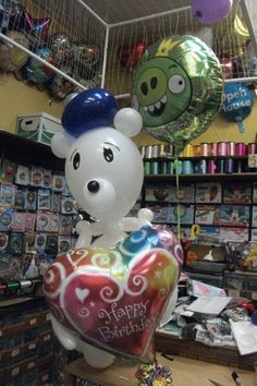 White Birthday Balloon Bear designed by Balloons by Night Moods in Juneau Alaska. 907-523-1099 www.juneausbestballoons.com