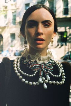Zoe Bleu Sidel, 21, in a Gucci knit top with an embroidered necklace appliqué. Produced by Vogue for Gucci.