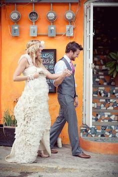 bride and groom walk through town to reception Wedding Inspiration, Wedding Ideas, Style Me, Groom, Reception, Mexico, Bride, Wedding Dresses, Sweet