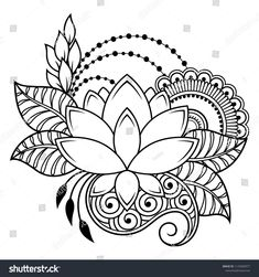 Art & Inspiration & Tattoos ♡ Embroidery Flower Patterns Mehndi flower pattern for Henna drawing and tattoo. Decoration in ethnic oriental, Indian style. Henna Drawings, Zentangle Drawings, Mandala Drawing, Mandala Art, Mehndi Drawing, Embroidery Flowers Pattern, Flower Patterns, Embroidery Designs, Pattern Flower