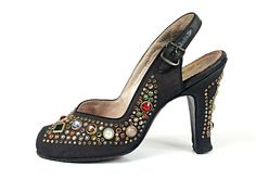 """Jeweled"" High Heeled Slingback Evening Shoes, Italy, 1940's"
