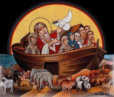 Coptic icon of the Deluge (Biblical Great Flood of Noah's Time): Genesis Religious Images, Religious Icons, Religious Art, Icon Check, Biblical Art, Byzantine Icons, Art Icon, Orthodox Icons, Catholic Art