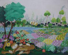 Arte naif PILAR SALA Acrílico 0.50 x 0.60  Familia de leopardos
