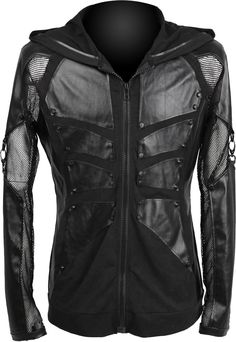 Men's hoodie jacket with mesh sleeves