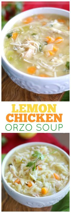 Lemon Chicken Orzo Soup Recipe Healthy – The Girl Who Ate Everything This Lemon Chicken Orzo Soup is a comforting and easy meal for any night of the week. the-girl-who-ate-… Healthy Soup Recipes, Cooking Recipes, Oats Recipes, Lemon Chicken Orzo Soup, Lemon Rice Soup, Greek Chicken, Soup And Salad, Soups And Stews, The Best