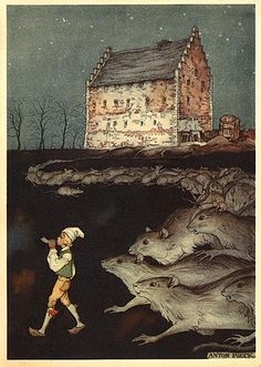 Anton Pieck Pied Piper of Hamelin Grimm, Art And Illustration, Book Illustrations, Dutch Artists, Great Artists, Anton Pieck, Legends And Myths, Fable, Rats