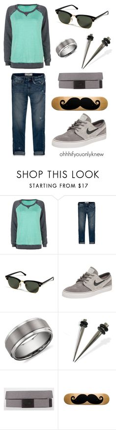 """""""Untitled #85"""" by ohhhifyouonlyknew ❤ liked on Polyvore featuring Full Tilt, Abercrombie & Fitch, Ray-Ban, NIKE, Blue Nile, Vans, tomboy, nike, my style and my creations"""