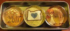 DIY Wedding Favors: Magnet Trio in a sliding tin