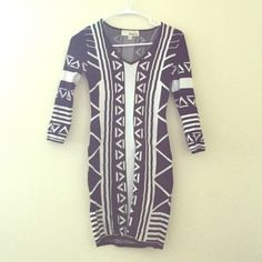 Aztec Print Bodycon Dress This is a 3/4 sleeve Aztec print black and white bodycon dress. It is very firm fitting and flattering. Thick sweater material, great as a winter dress! Size small. Traded with another Posher and never wore it. Derek Heart Dresses