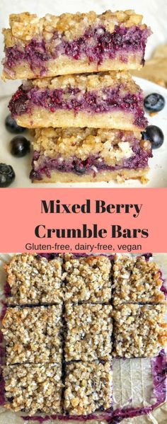 These easy vegan and gluten-free Mixed Berry Crumble Bars are bursting with sweetness and filled with fresh summer fruit! These easy vegan and gluten-free Mixed Berry Crumble Bars are bursting with sweetness and filled with fresh summer fruit! Patisserie Sans Gluten, Dessert Sans Gluten, Gluten And Dairy Free Desserts Easy, Gluten Free Baking Recipes, Free From Dairy, Dairy Free Slice Recipes, Blackberry Recipes Gluten Free, Dairy Free Meals, Gluten Free Vegan