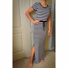 Michael Kors Maxi Dress ••LIKE NEW•• Michael Kors cotton dress. navy and white stripes with drawstring waist. Slits in both sides as pictured. <<Fits like an XS or Small!!!>> •Make me an offer! Anything negotiable!• Michael Kors Dresses Maxi
