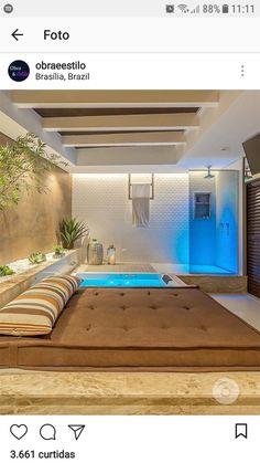 Home Spa Room, Spa Rooms, Home Interior Design, Exterior Design, Extreme Makeover Home Edition, Patio Deck Designs, Jacuzzi Outdoor, Bedroom Balcony, Loft