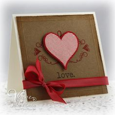 handmade Valentine ... clean and simple design ... kraft and red ... layered heart popped up over a stamped flourish ... sweet!