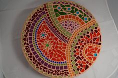 Mosaic platter por ColoreMosaics en Etsy