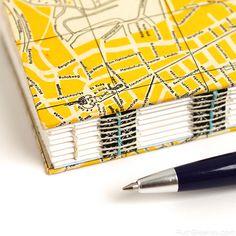 Closeup of open spine bookbinding - Heidelberg Journal Diy Notebook, Handmade Notebook, Handmade Journals, Handmade Books, Handmade Crafts, Handmade Rugs, Origami, Bookbinding Tutorial, Book Journal