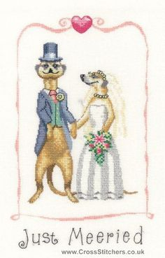 Just Meeried- Peter Underhill Meerkats Cross Stitch Kit from Heritage Crafts