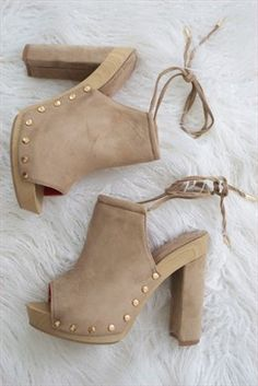 Nixe Heels: All sixes will be RESTOCKED are in love with these retro inspired mule heels. Soft taupe vegan suede heels with gold stud accents and ankle wrap strap. Pretty Shoes, Cute Shoes, Me Too Shoes, Lace Up Sandals, Wedge Sandals, Wedge Shoes, Luxury Shoes, Crazy Shoes, Suede Heels