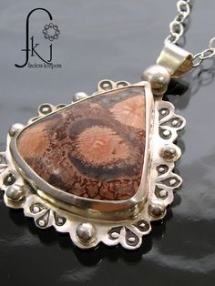 "Silver Pendant with Birdseye Rhyolite Semiprecious Gemstone, Handcrafted 18"" Sterling Necklace, by FKJewelryDesigns on Etsy"
