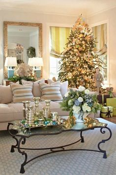Could this be a more beautiful holiday room? As someone who decorates for Christmas with non-traditional colors, I'm loving the blue & green!