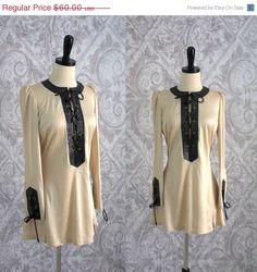 Sexy, Sleek 70s Mini Dress/Tunic in Black Leather Trim $48.00