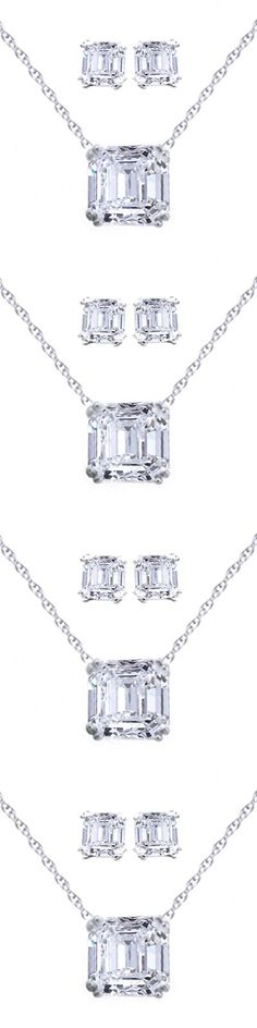 Diamonds and Gemstones 164326: Signity Asscher Emerald Step Cut Cz Necklace Pendant Chain Stud Earring Set -> BUY IT NOW ONLY: $36.76 on eBay!