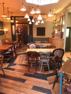 Broadleaf Mixed Brushed & Burned Oak flooring, the perfect way to recreate a reclaimed style wood floor in restaurants, bars and other commercial spaces. Please call 01269 851 910 for more information. Oak Flooring, Floors, Commercial Interiors, Restaurants, Spaces, Wood, Table, Furniture, Home Decor