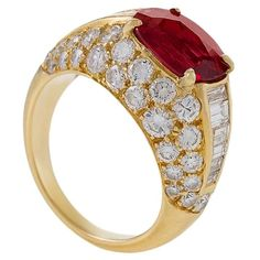 Bulgari Late-20th Century Ruby and Diamond 'Trombino' Ring | From a unique collection of vintage cocktail rings at https://www.1stdibs.com/jewelry/rings/cocktail-rings/