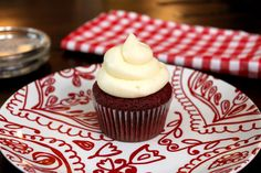 Recipe for a Red Velvet Cupcake with cream cheese frosting -- just one!!  Single serve dessert.
