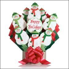 Happy Holidays snow men Christmas cookie bouquet
