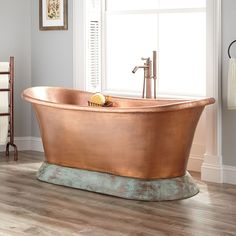 "68"" Gunnar Hammered Copper Double-Slipper Tub on Verdigris Pedestal"