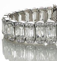 William Goldberg ashoka-cut diamond and platinum bracelet...