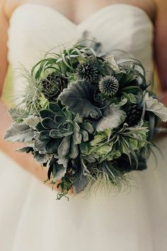 Green succulent wedding bouquet | addison jones photography
