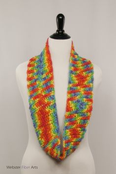 Rainbow Crocheted Infinity Scarf by Webster Fiber Arts on Etsy  The Rainbow Infinity Scarf is super soft. This crocheted cotton infinity scarf is substantial, but lightweight. I love rainbows, and this piece was a joy to create.
