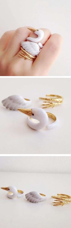 Jewelry brandMary Loucreates charming three-piece animal rings.