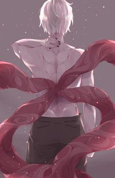 """hinamie: """" kagune study I…just wanted to draw kaneki shirtless >_> """""""