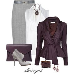 Purple blazer white top grey pencil skirt with grey heels work attire Fashion Moda, Fashion 101, Fashion Books, Womens Fashion, Diva Fashion, Classy Outfits, Chic Outfits, Fashion Outfits, Business Mode